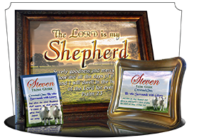 SG-PL-AN03, Custom Scripture Plaque,  Framed, Bible Verse two lambs sheep, Psalm 23, Shepherd