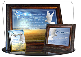 SG-PL-AN14, Custom Scripture Plaque,  Framed, Bible Verse  dove peace, John 14:27, Isaiah 26:3