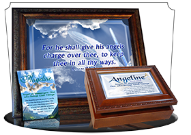 SG-PL-AN15, Custom Scripture Plaque,  Framed, Bible Verse  dove peace angels, Psalm 91:11