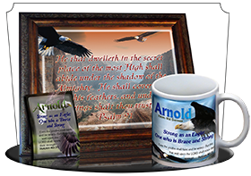 SG-MU-AN20, Coffee Mug with Custom Bible Verse  bald eagle fly, Psalm 91, wings of eagles.