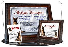 MU-AN39, Music Box with personalized name meaning & Bible verse,  Kristopher Christopher Chris Kris german shepherd dog