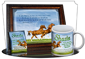 SG-PL-AN42, Custom Scripture Plaque,  Framed, Bible Verse Playful Horses happy joyful  brown, Zephaniah 3:17