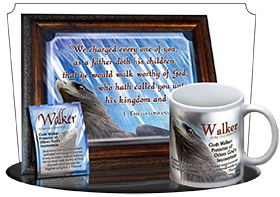 SG-MU-AN47, Coffee Mug with Custom Bible Verse eagle hawk bird, 1 Thessalonians 2:11
