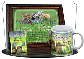 MU-AN50, Music Box with personalized name meaning & Bible verse,  morgan cute fuzzy kittens cats