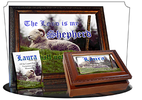 SG-MU-AN62, Coffee Mug with Custom Bible Verse sheep ram shepherd flock lamb staff, Psalm 23, Shepherd.