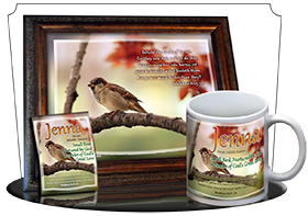 MU-AN63, Coffee Mug with Name Meaning and  Bible Verse jenna bird birds sparrow
