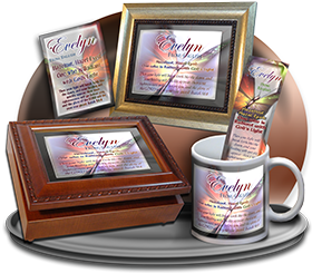 MU-BF08, Coffee Mug with Name Meaning and  Bible Verse butterfly  evelyn