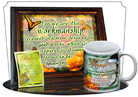 SG-PL-BF13, Custom Scripture Plaque,  Framed, Bible Verse butterfly  green garden, Ephesians 2:10