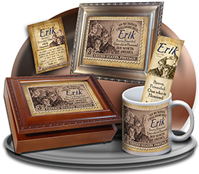 MU-CA01, Coffee Mug with Name Meaning and  Bible Verse erik boy scouts stamp collecting
