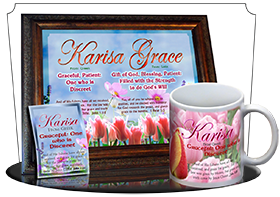 8x10-FL25, personalized 10x12 name meaning print, framed with  name meaning & Bible verse, , personalized, floral flower, karisa pink tulips