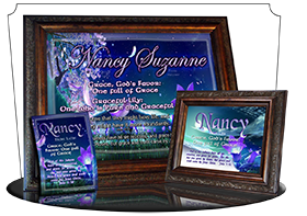 8x10-FL29, personalized 10x12 name meaning print, framed with  name meaning & Bible verse, , personalized, floral flower, fairy fantasy purple flower moon  The Moon Petals design has been a top seller, so we took special care in making the wide plaque ver