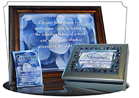 SG-8x10-FL33, Large 10x12 Plaque with Custom Bible Verse, personalized, floral flower, blue soft flowers, 1 Peter 3:4
