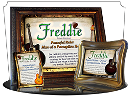 MU-MU15, Coffee Mug with Name Meaning and  Bible Verse, personalized, music notes freddie fred frederick guitar acoustic