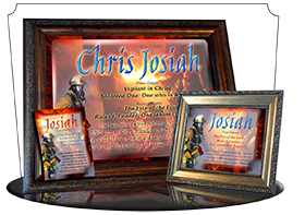 8x10-PP23, personalized 10x12 name meaning print, framed with  name meaning & Bible verse, , personalized, bravery courage fireman firefighter fire josiah