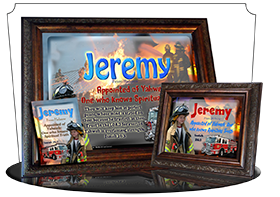 8x10-PP24, personalized 10x12 name meaning print, framed with  name meaning & Bible verse, , personalized, bravery courage fireman firefighter fire child jeremy