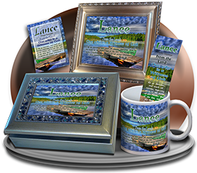 MU-SC10, Coffee Mug with Name Meaning and  Bible Verse, personalized, lance dock lake peace