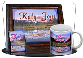 8x10-SC28, personalized 10x12 name meaning print, framed with  name meaning & Bible verse, , personalized, katy mountain lake pink, scenery