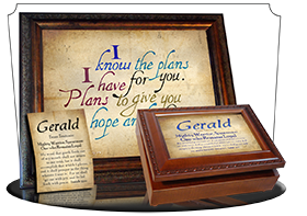 MU-SM03, Music Box with personalized name meaning & Bible verse, , personalized, simple parchment gerald