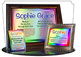 PL-SM12, Name Meaning Print,  Framed, Bible Verse, personalized, baby name, rainbow, sophie simple, basic