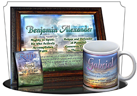 MU-SS09, Coffee Mug with Name Meaning and  Bible Verse, personalized, gabriel sunset