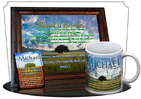 MU-TR13, Coffee Mug with Name Meaning and  Bible Verse, personalized, lone tree integrity, michael
