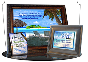PL-WA06, Name Meaning Print,  Framed, Bible Verse, personalized, liam ocean beach vacation palm trees sand