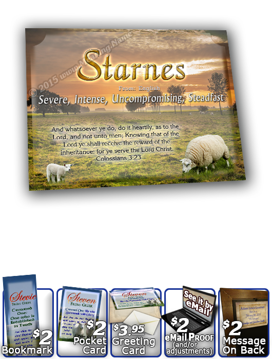 8x10-AN03, personalized 10x12 name meaning print, framed with  name meaning & Bible verse,  two lambs sheep Steven  Happy lambs are frolicking about their beloved green pasture, as their shepherd stands watch near by. The name and its meaning are suspende