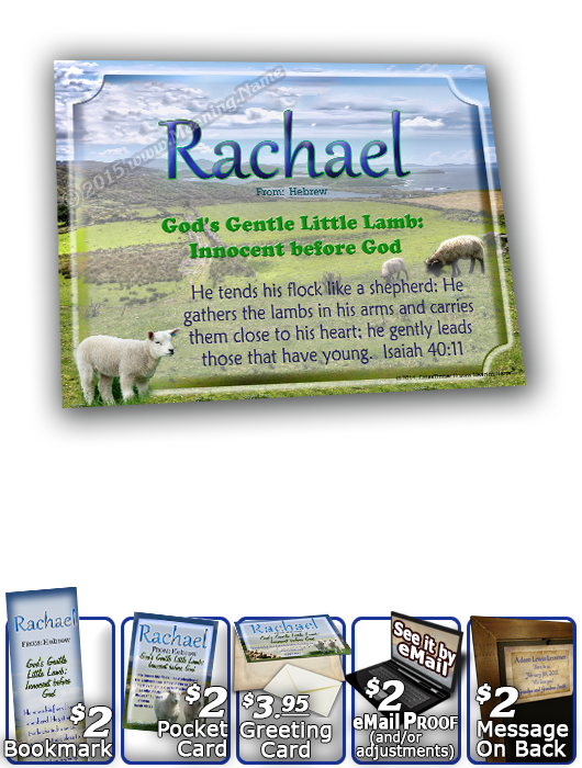 8x10-AN04, personalized 10x12 name meaning print, framed with  name meaning & Bible verse,  Rachel Rachael sheep lambs flock shepherd  This design is another version of AN03, with the soft differences of a brighter shade of colors woven throughout, as wel