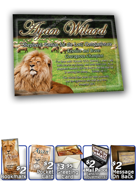 8x10-AN05, personalized 10x12 name meaning print, framed with  name meaning & Bible verse,  Ayan Wilard Lion Lioness, pride african  The lion and the lambs are blessed with peaceful harmony in this lush green landscape. As your name, and its treasure-fill