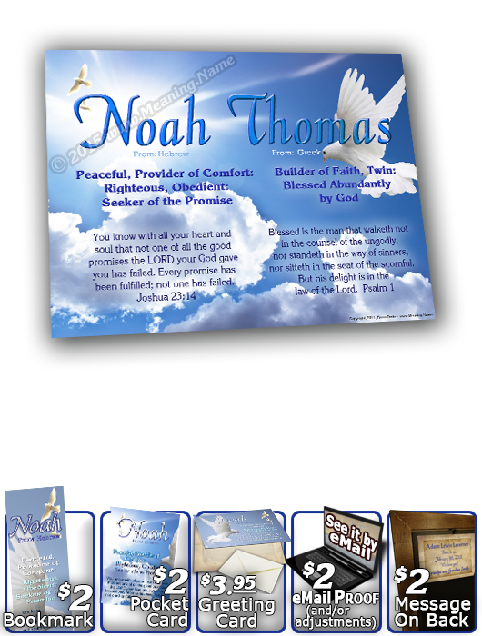 8x10-AN13, personalized 10x12 name meaning print, framed with  name meaning & Bible verse,  noah dove peace  Doves of peace glide gracefully in this soft blue sky, as they hover effortlessly around your name and its precious meaning.