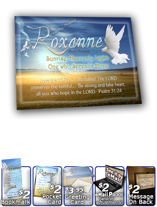 8x10-AN14, personalized 10x12 name meaning print, framed with  name meaning & Bible verse,  Roxanne dove peace  A dove alights upon your name and it's meaning, as the sun's golden rays seem to brighten the text that fills its skies.
