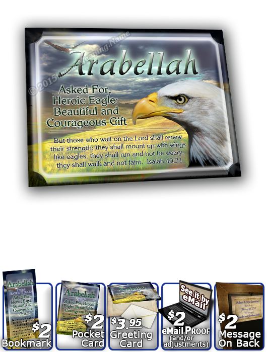 8x10-AN23, personalized 10x12 name meaning print, Arabellah, framed with  name meaning & Bible verse,  bird arabellah bald eagle