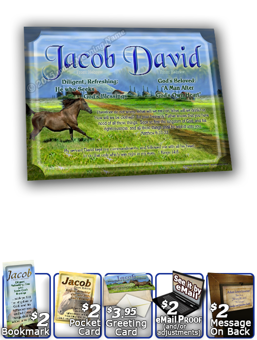 8x10-AN48, personalized 10x12 name meaning print, framed with  name meaning & Bible verse,  jacob brown horse houses