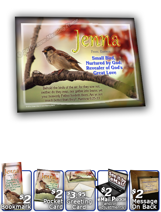 8x10-AN63, personalized 10x12 name meaning print, framed with  name meaning & Bible verse,  Jenna bird birds sparrow