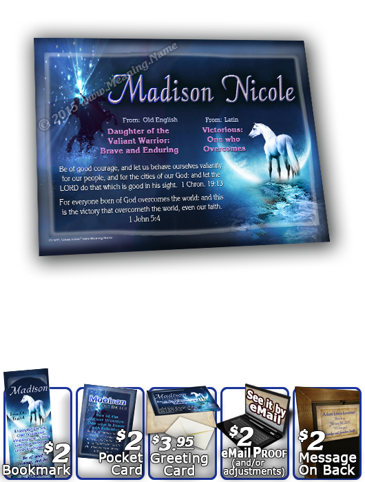8x10-CR09, personalized 10x12 name meaning print, framed with  name meaning & Bible verse, , personalized, madison white horse moon  There are some beautiful effects on the name and meaning for this white horse design.  The moonlight catches on the end of