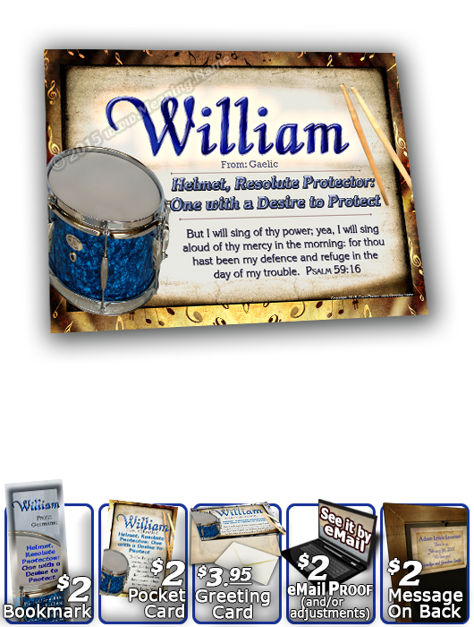 8x10-MU02, personalized 10x12 name meaning print, framed with  name meaning & Bible verse, , personalized, music notes William drums