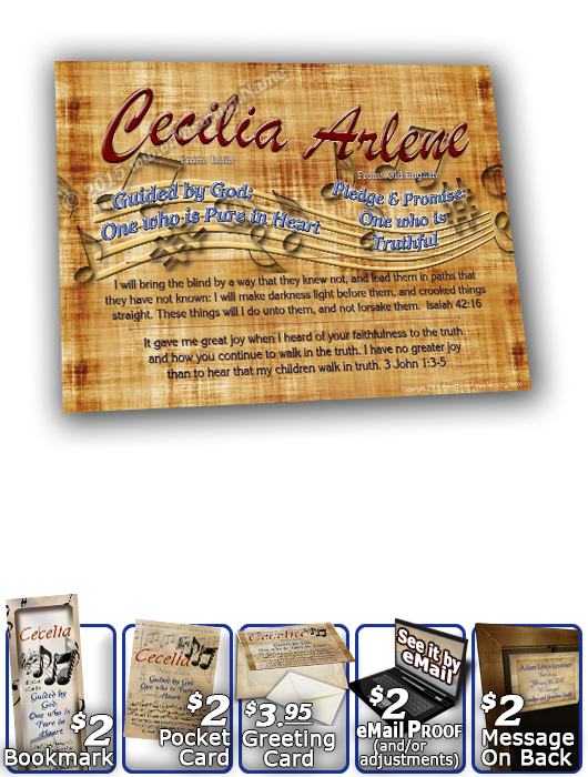 8x10-MU11, personalized 10x12 name meaning print, framed with  name meaning & Bible verse, , personalized, music notes cecelia  Musical notes fly across the background of this name meaning print.  An aged parchment holds the sea-blue name, meaning and Bib