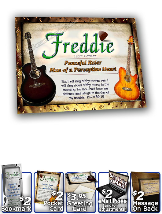 8x10-MU15, personalized 10x12 name meaning print, framed with  name meaning & Bible verse, , personalized, music notes freddie fred frederick guitar acoustic