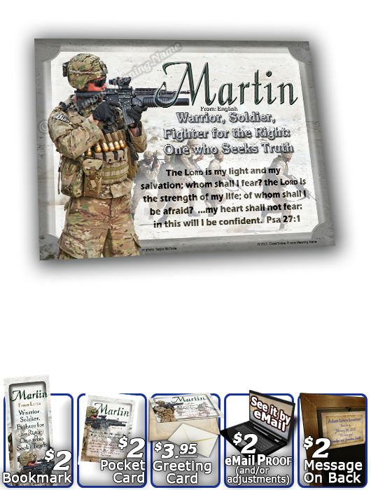8x10-PP22, personalized 10x12 name meaning print, framed with  name meaning & Bible verse, , personalized, bravery soldier army navy war martin
