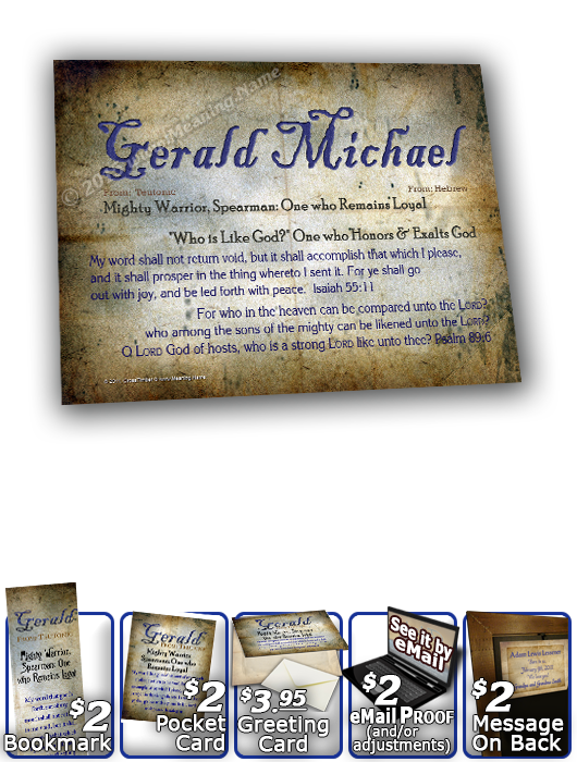 8x10-SM16, personalized 10x12 name meaning print, framed with  name meaning & Bible verse, , personalized, old ancient grunge secret gerald