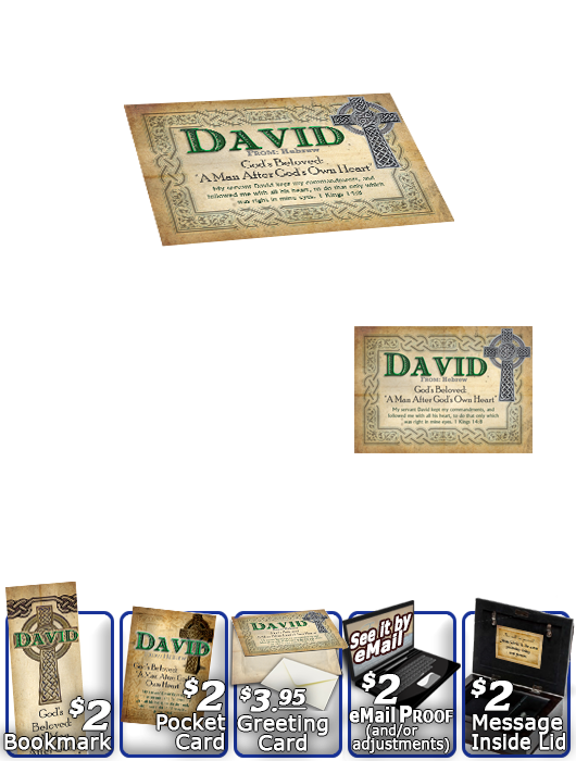 MU-CE02, Music Box with personalized name meaning & Bible verse, , personalized, celtic knotwork irish gaelic cross david