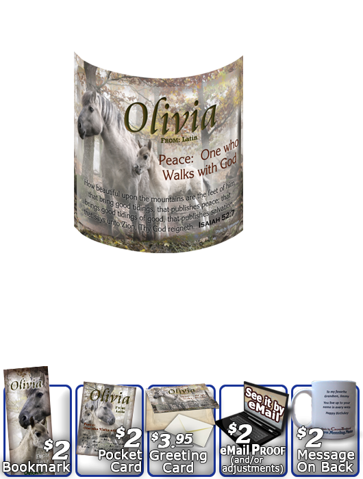 MU-AN45, Coffee Mug with Name Meaning and  Bible Verse mom mother child horses white olivia
