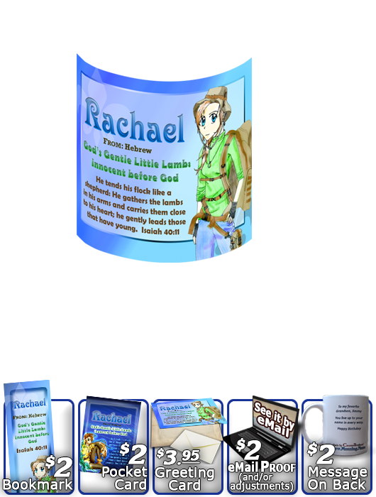 MU-CH44, Coffee Mug with Name Meaning and  Bible Verse, personalized, anime character rachael