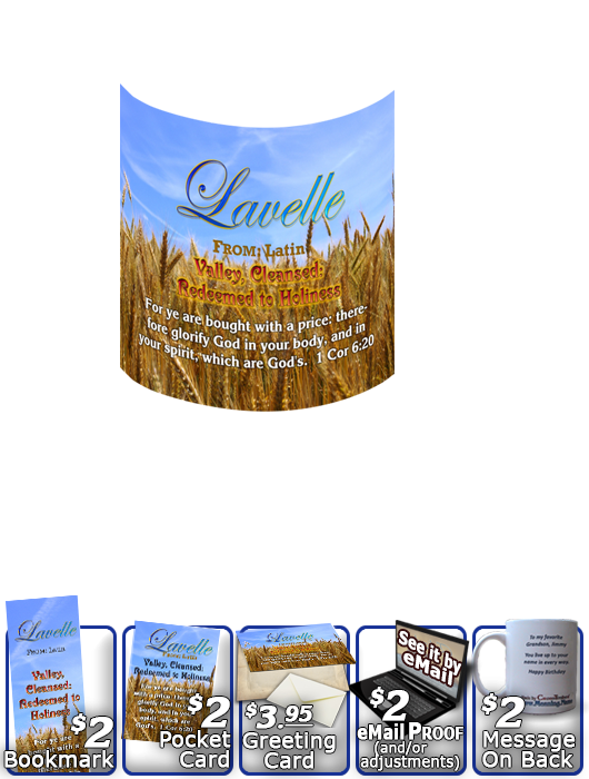 MU-GR05, Coffee Mug with Name Meaning and  Bible Verse, personalized, lavelle grain field harvest