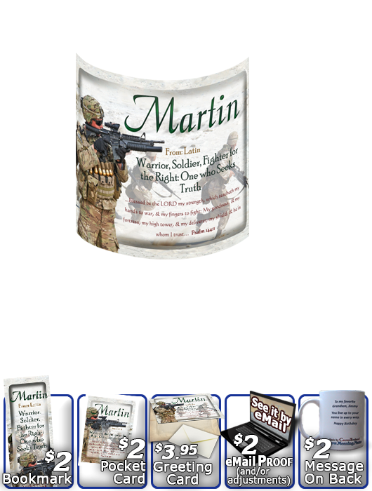 MU-PP22, Coffee Mug with Name Meaning and  Bible Verse, personalized, bravery soldier army navy war martin
