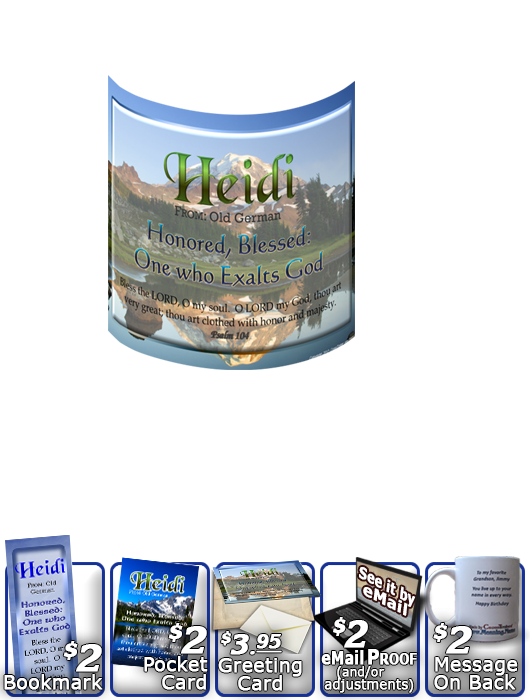 MU-SC17, Coffee Mug with Name Meaning and  Bible Verse, personalized, mountain heidi lake