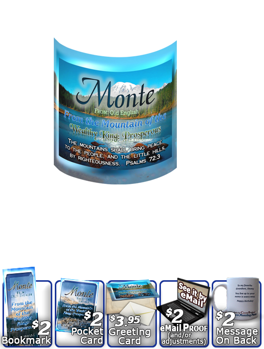 MU-SC26, Coffee Mug with Name Meaning and  Bible Verse, personalized, monte, mountain, lake