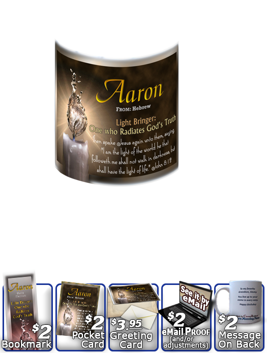 MU-SY25, Coffee Mug with Name Meaning and  Bible Verse, personalized, aaron light water candle