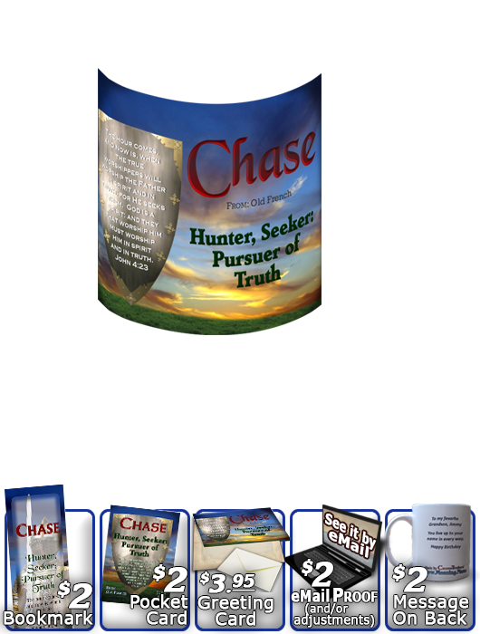 MU-SY61, Coffee Mug with Name Meaning and  Bible Verse, personalized, chase shield sunset