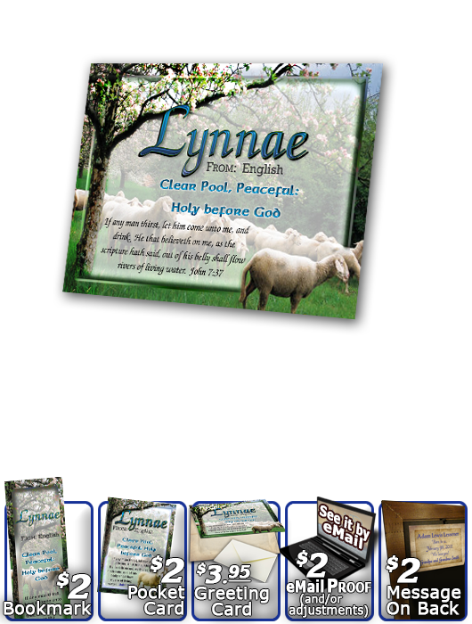 PL-AN01, Name Meaning Print,  Framed, Bible Verse sheep flock lambs shepherd lynnae
